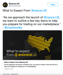 Binance US marketplace announcement