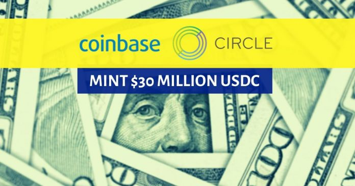 Coinbase and circle will mint USDC