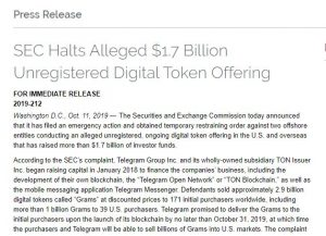SEC TELEGRAM Press Release