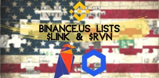 binance us lists chainlink link token and raven coin