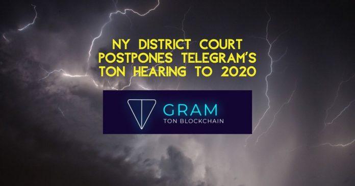 Telegram's TON Hearing Postponed until February 2020