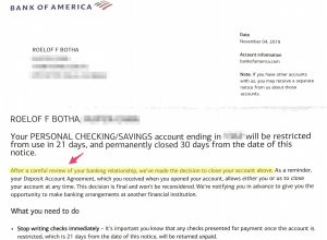 Bank of America closes an important account