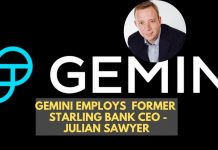 Gemini Employs Former Starling Bank Executive