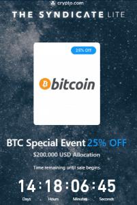 Crypto.com BTC on discount