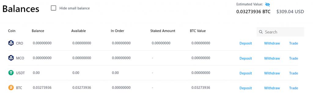 Crypto.com Balances