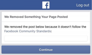 Facebook takes down content