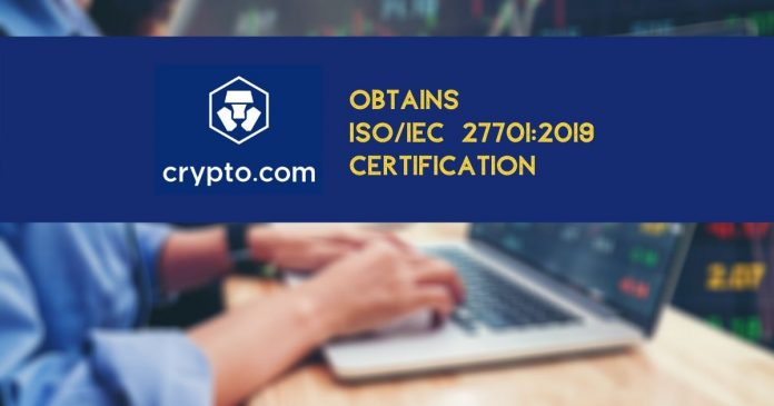 Crypto.com Acquires ISO Certification