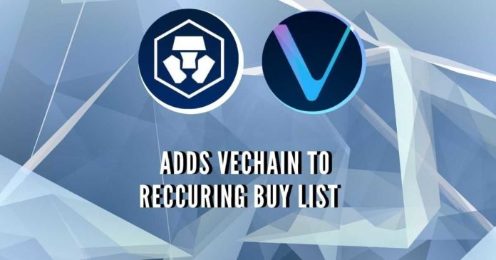 Crypto.com Adds VeChain (VET) to Recurring Buy
