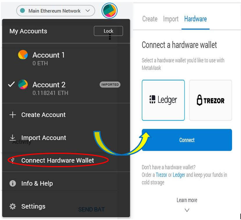 Connecting a hardware wallet.