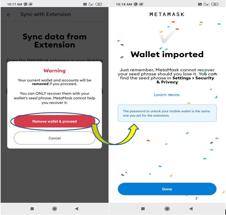 Syncing your MetaMask mobile wallet to your desktop extension.