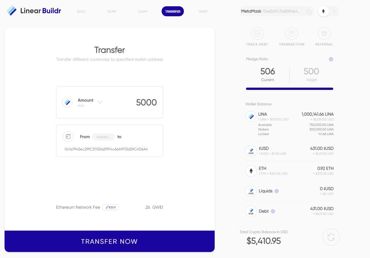 Transferring LINA tokens.