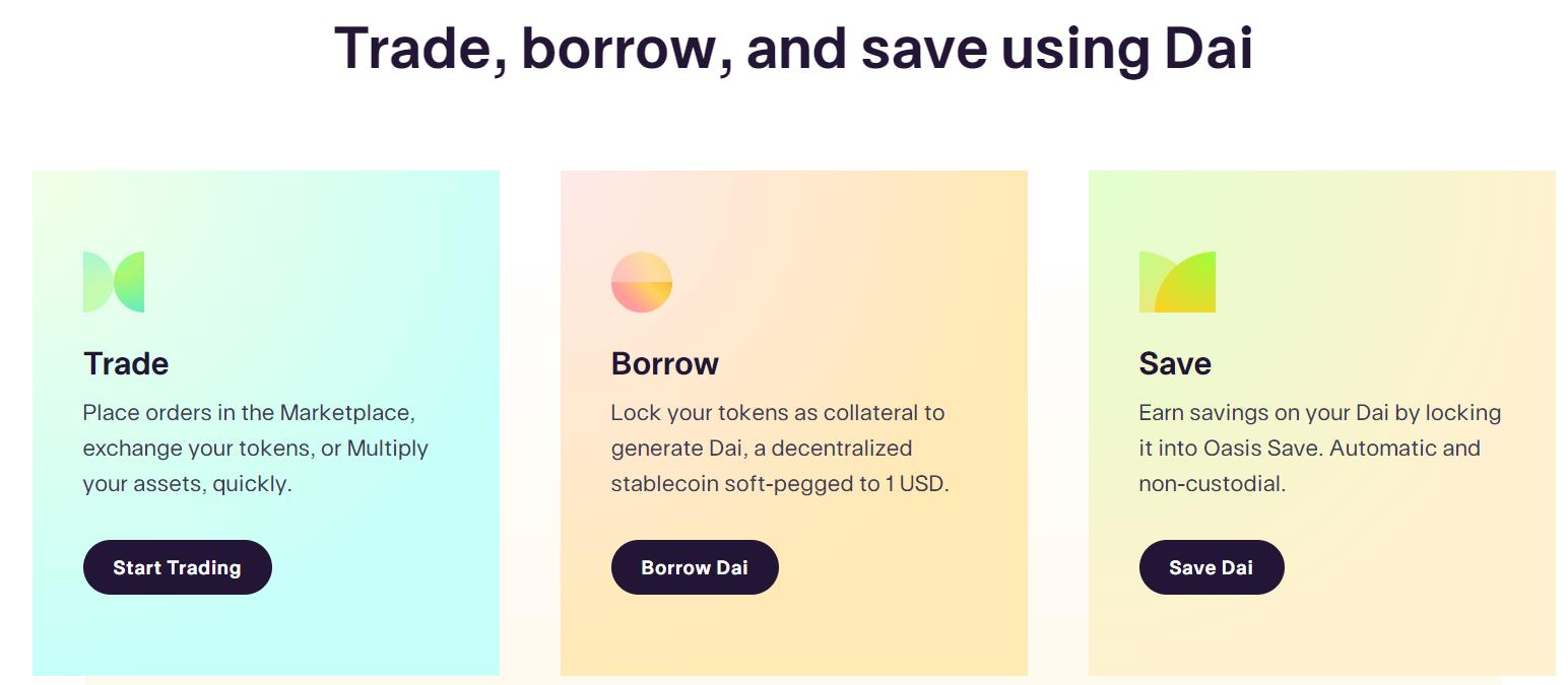 MakerDAO borrow, trade, and save features
