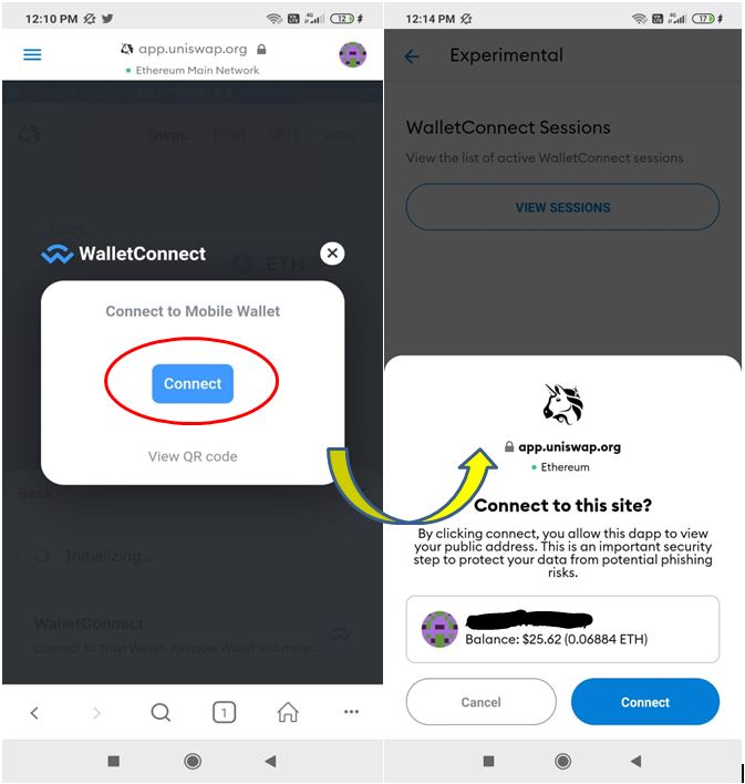 Connecting the wallet to Uniswap.