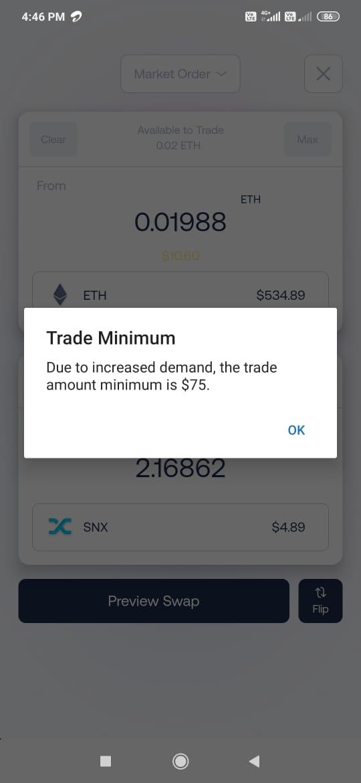 Trade minimum.
