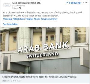 Arab Bank tezos linkedin